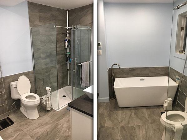 salle de bain en céramique au Lac Saint-Charles Québec